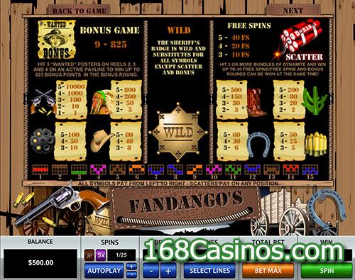 Fandango's 3 Lines Slot Paytable