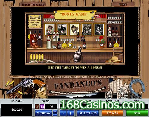 Fandango's 3 Lines Slot - Bonus Game