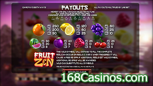 Fruit Zen Slot Paytable