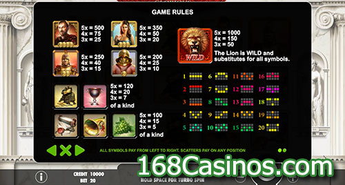 Glorious Rome Slot Paytable