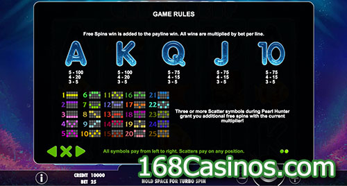Great Reef Video Slot Paytable